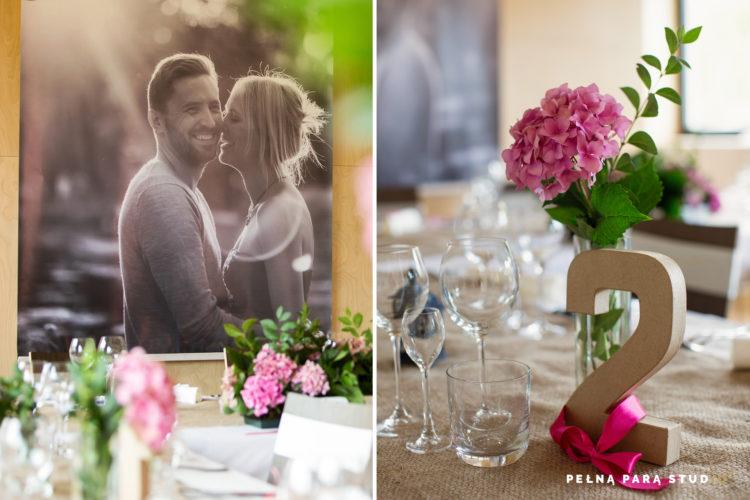 Dekoracje weselne: zdjęcie młodej pary w scenografii wesela